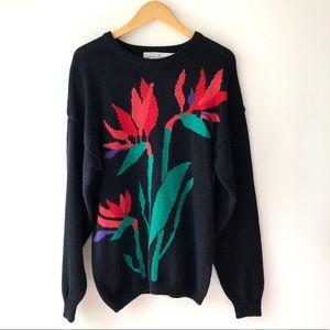 Vintage Maori Bee Black Crew Neck Flower Sweater M